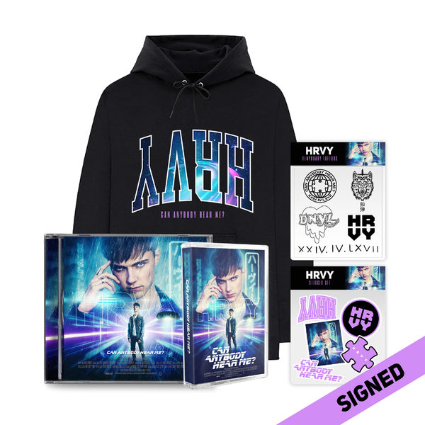 HRVY: Can Anybody Hear Me? Signed Standard CD & Tattoo Pack & Signed Cassette & Hoodie & Stickers