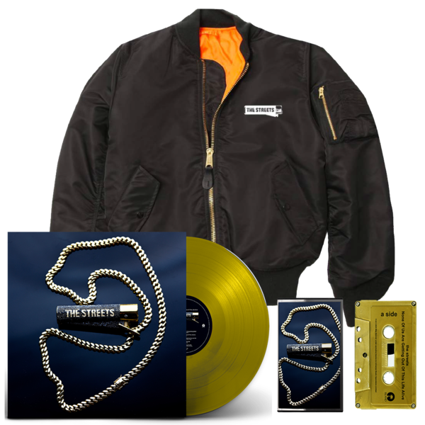 The Streets: None Of Us Are Getting Out Of This Life Alive: Gold LP, Signed Gold Cassette + MA1 Flight Jacket