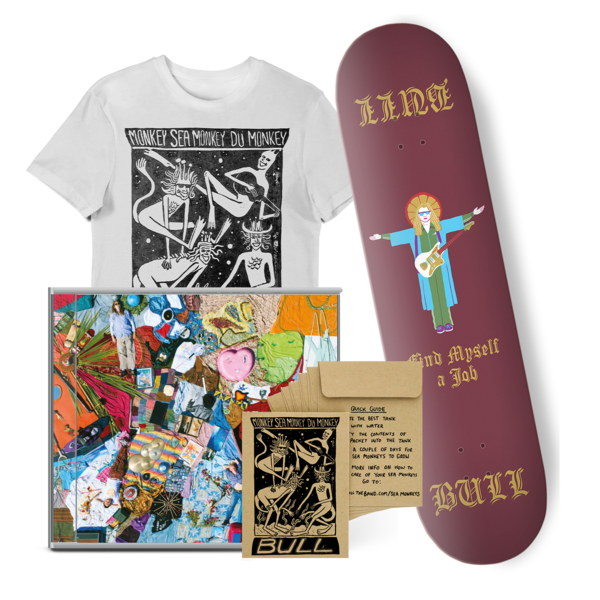 Bull: 'Find Myself A Job' Skateboard Deck + CD + T-shirt bundle.