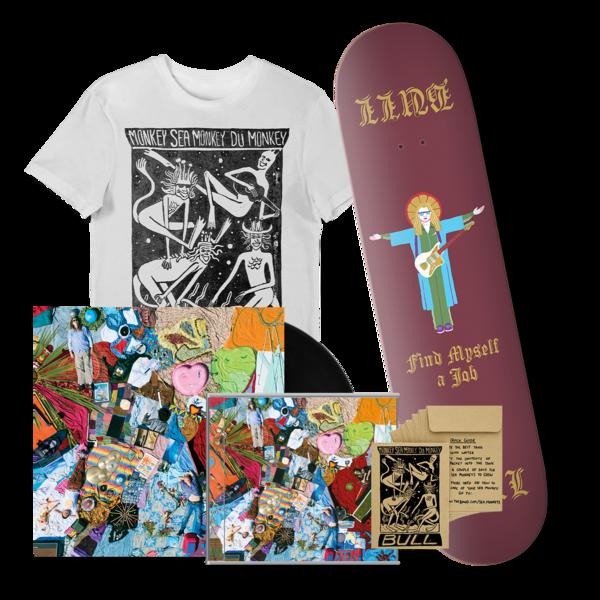 Bull: 'Find Myself A Job' Skateboard Deck + CD + vinyl T-shirt, 'we'll take the lot' bundle.