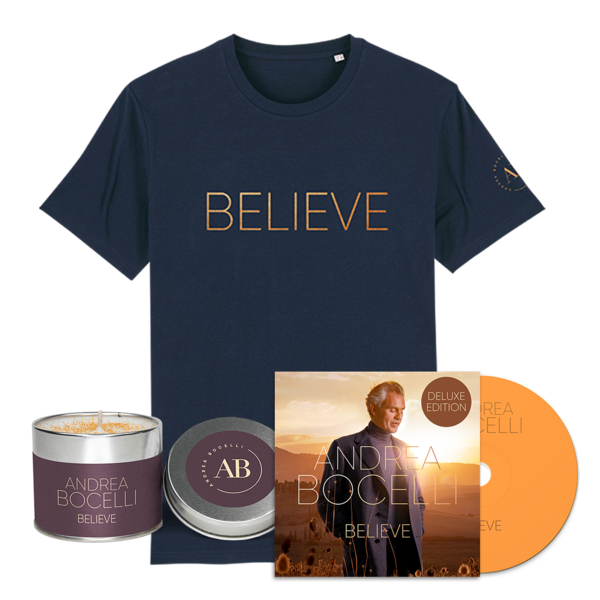 Andrea Bocelli: Believe Deluxe CD, T-shirt & Candle Bundle