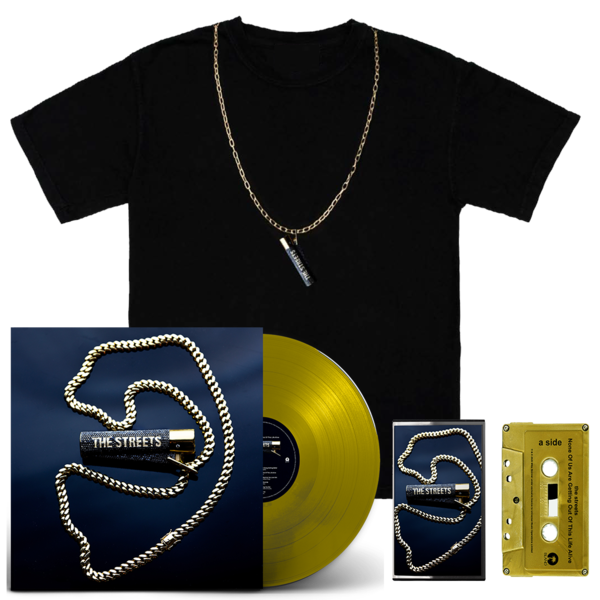 The Streets: NONE OF US ARE GETTING OUT OF THIS LIFE ALIVE: GOLD LP, SIGNED GOLD CASSETTE + CHAIN TEE