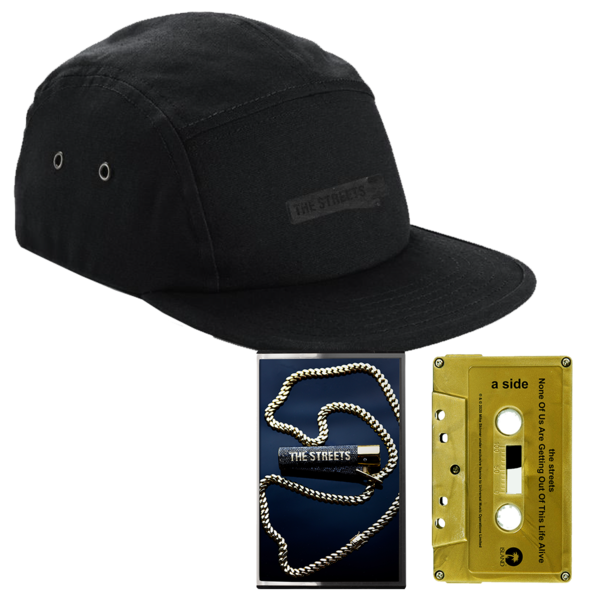 The Streets: None Of Us Are Getting Out Of This Life Alive: Black on Black Cap + Signed Gold Cassette
