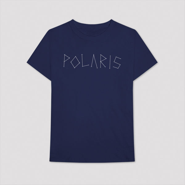 Aitch: BLUE WRITTEN POLARIS LOGO T-SHIRT