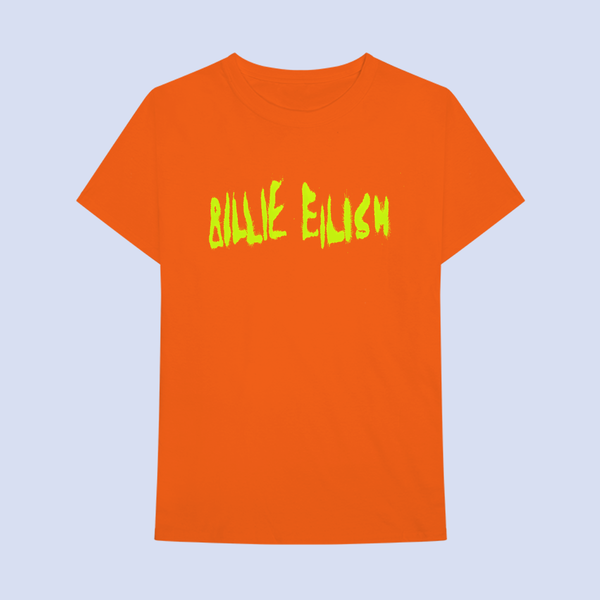 Billie Eilish: Spray Paint Logo Orange T-shirt