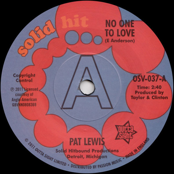 Pat Lewis: No One To Love / Look What I Almost Missed