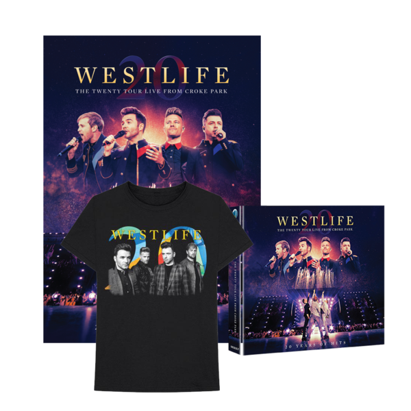 Westlife: THE TWENTY TOUR LIVE FROM CROKE PARK CD/DVD & Limited Edition Signed Print & Tee