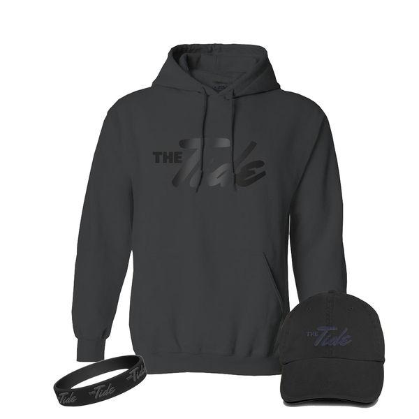 The Tide: Black Hoodie, Hat & Wristband Bundle