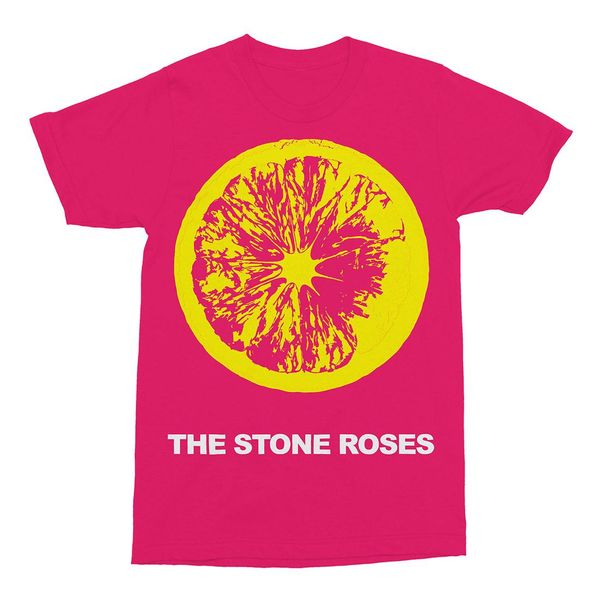 The Stone Roses: Large Lemon on Pink T-Shirt