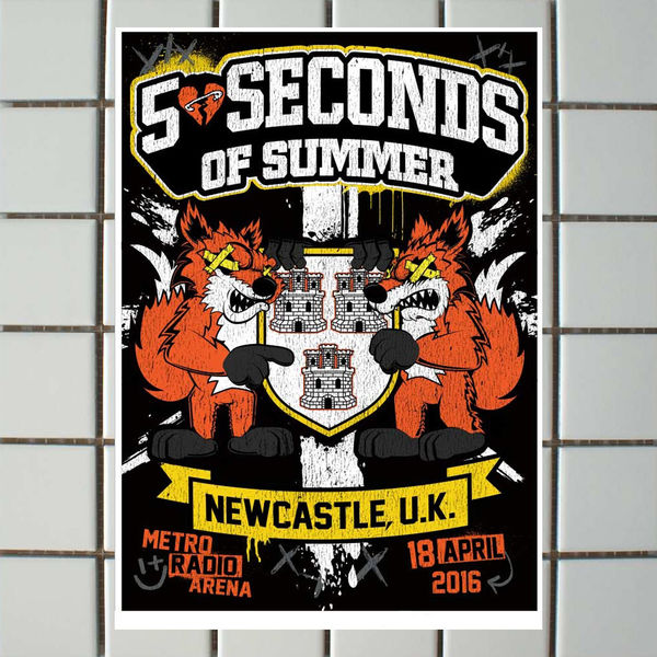 5 Seconds of Summer: Newcastle April 18th Event Litho