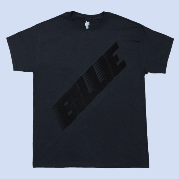Billie Eilish: Racer Logo Black On Black T-shirt