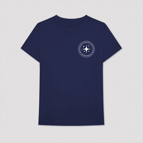 Aitch: BLUE T-SHIRT WITH CIRCLE POLARIS LOGO