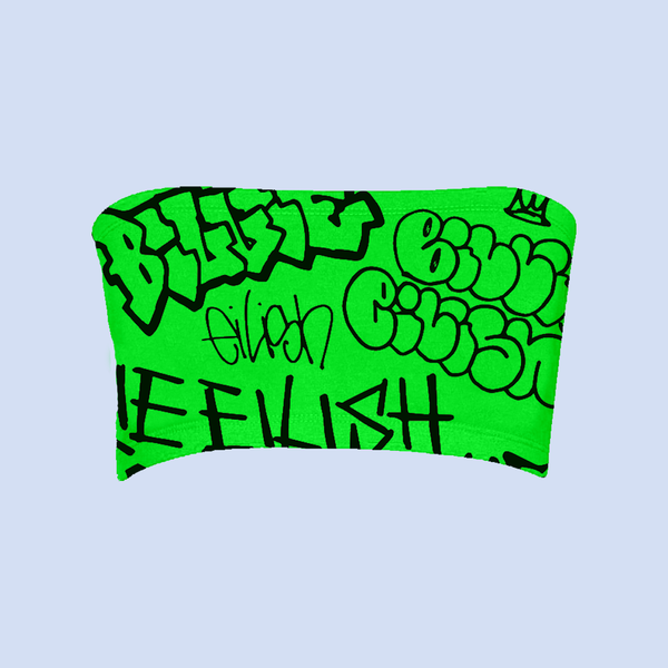 Billie Eilish: Billie Eilish x FreakCity Green Grafitti Tube Top