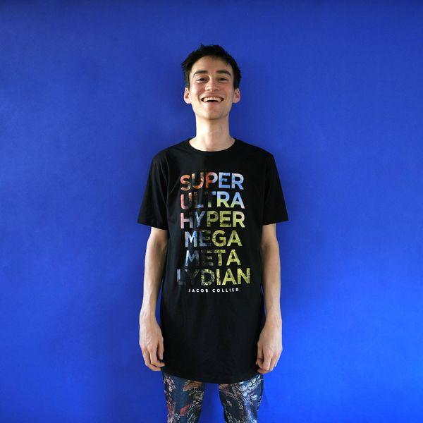 Jacob Collier: Slogan black, longline t-shirt - L