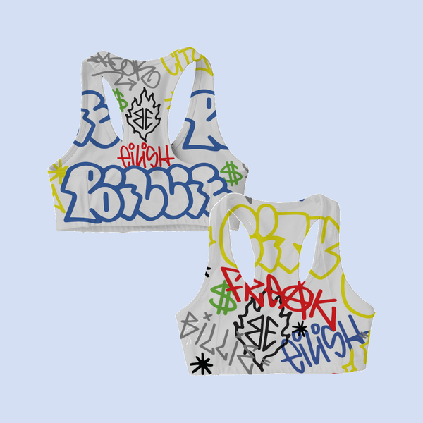 Billie Eilish: Billie Eilish x FreakCity Graffiti Sports Bra