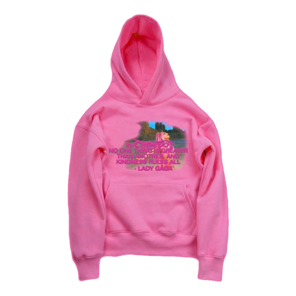 Lady Gaga: KINDNESS RULES ALL PINK HOODIE + CASSETTE 2 BUNDLE