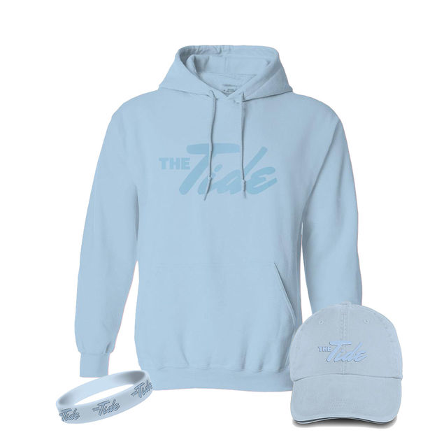 The Tide: Pastel Blue Hoodie, Hat & Wristband