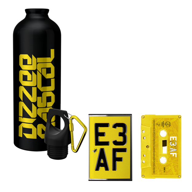 Dizzee Rascal: E3 AF: Cassette, Waterbottle + Signed Art Card
