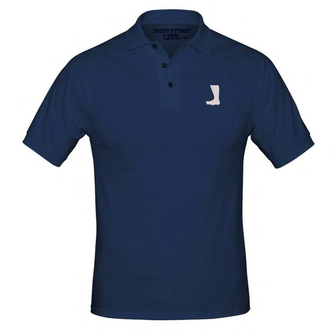 Monty Python: Big Foot Embroidered Navy Polo Shirt