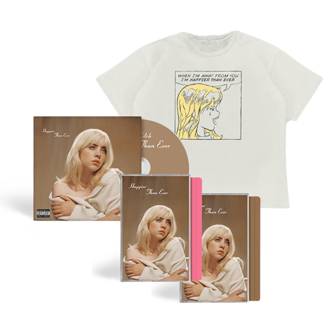 Billie Eilish: 'Happier Than Ever CD' + Exclusive Brown Cassette + Exclusive Pink Cassette + Get Away From Me T-shirt