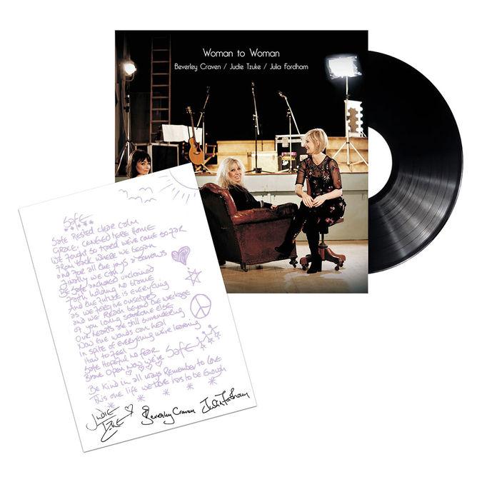 Judie Tzuke, Beverley Craven, Julia Fordham: Woman To Woman - Vinyl & Signed Lyric Sheet