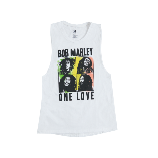 Bob Marley: One Love Quad Muscle Ladies White Tank Top - S