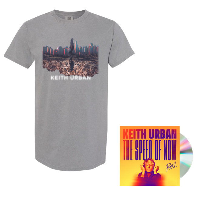Keith Urban: SKYLINE Grey T-shirt + THE SPEED OF NOW Part 1 CD + Digital Album