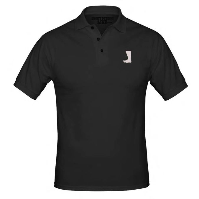 Monty Python: Big Foot Embroidered Black Polo Shirt