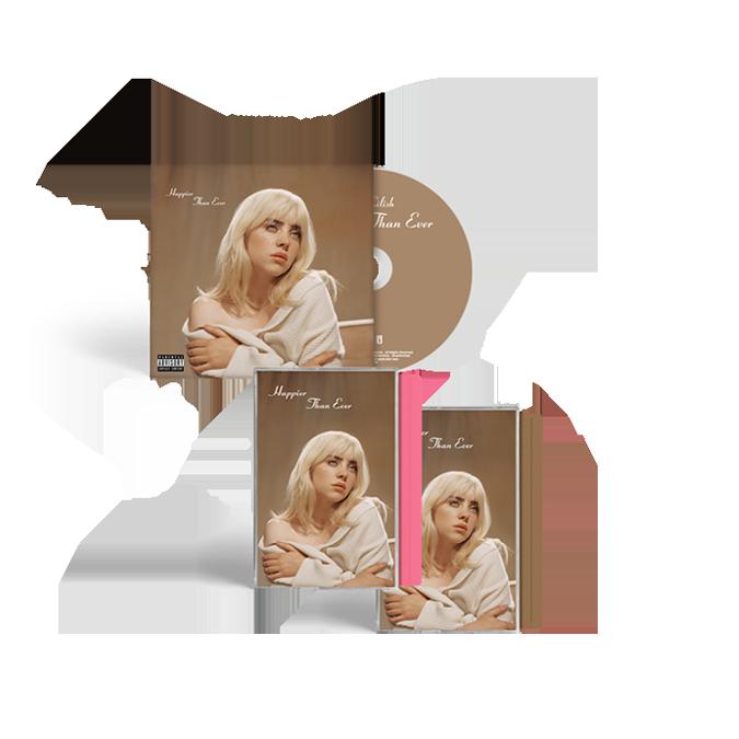 Billie Eilish: 'Happier Than Ever' CD + Exclusive Pink Cassette + Exclusive Brown Cassette