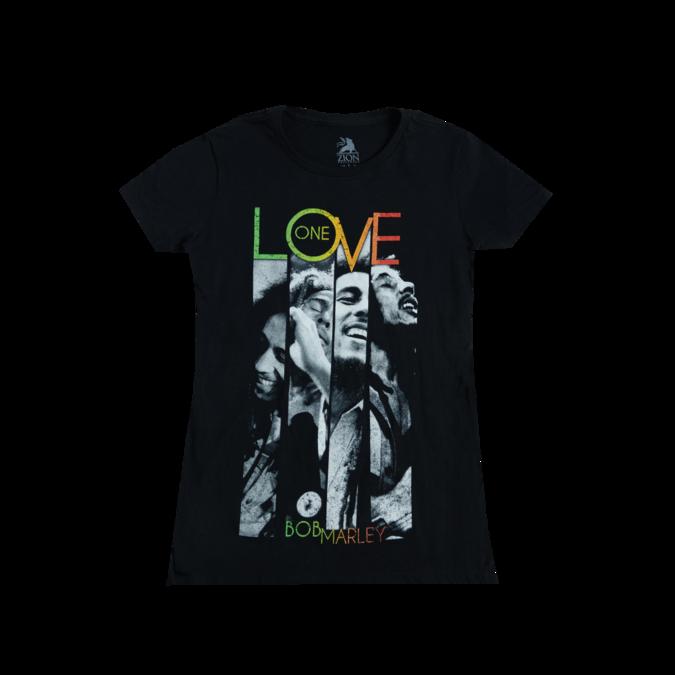 Bob Marley: One Love Stripes Black Ladies T-Shirt - L