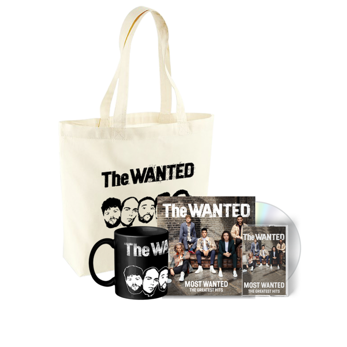 The Wanted: MOST WANTED: SIGNED DELUXE CD, CASSETTE + BLACK MUG + TOTE BAG