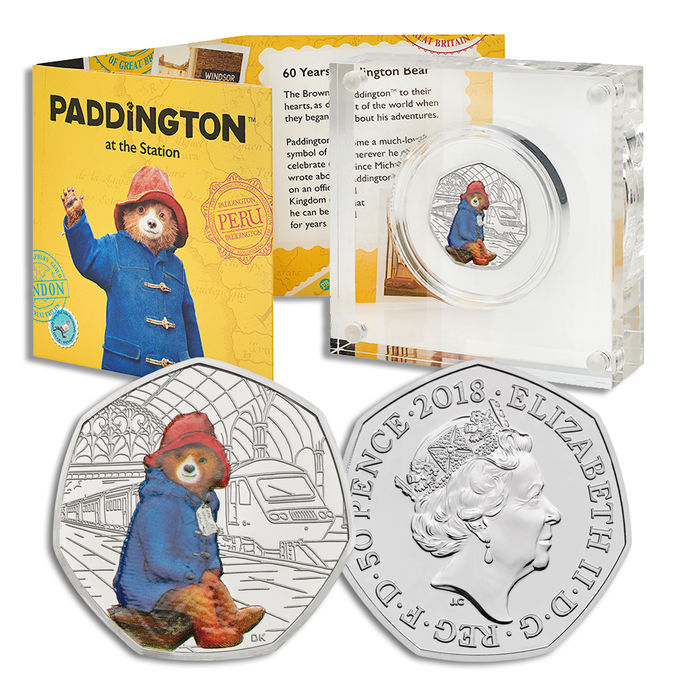 Paddington Bear: 60th Anniversary Paddington Bear at Paddington Station 2018 UK 50p Silver Proof Coin