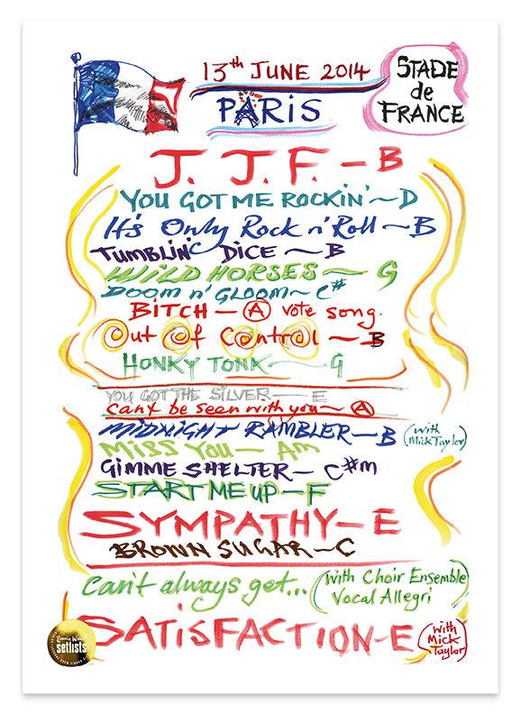 Ronnie Wood: Show 14, Stade de France, Paris France13  June 2014 Lithograph