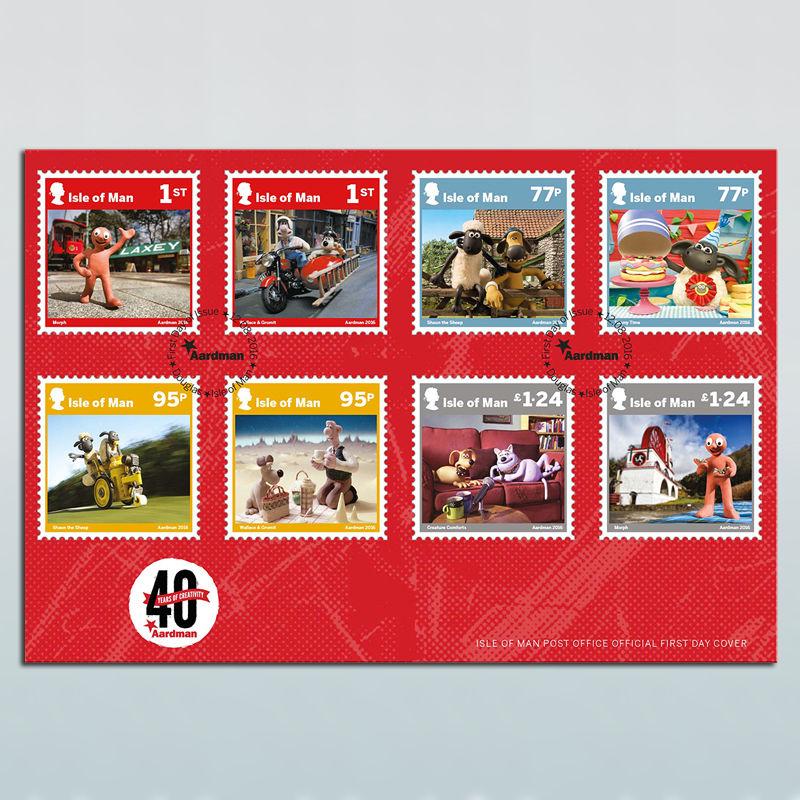 TV Series & Movies Aardman Aardman 40 Years Isle of Man Stamps First Day Cover