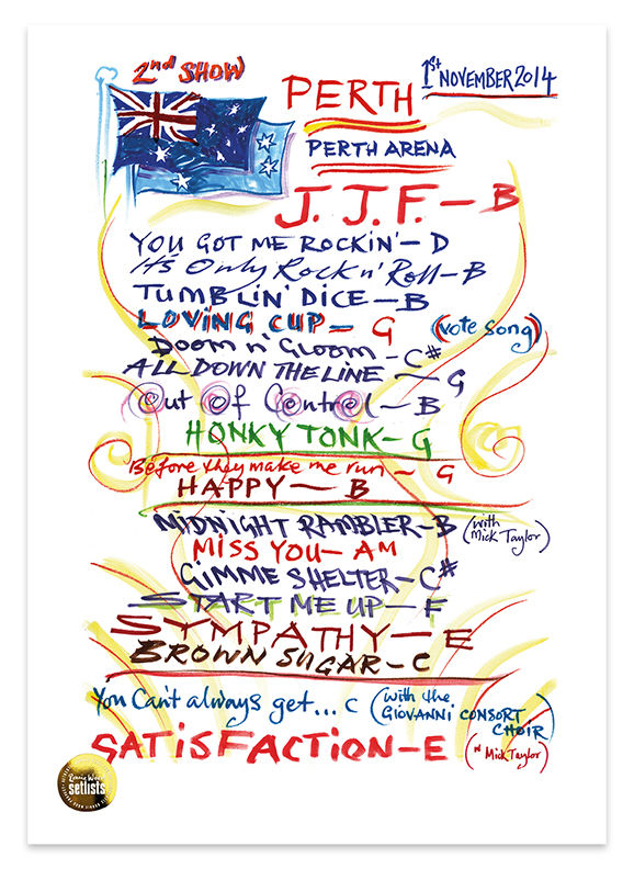 Ronnie Wood: Show 24, Perth Arena, Perth Australia 1 November 2014 Lithograph