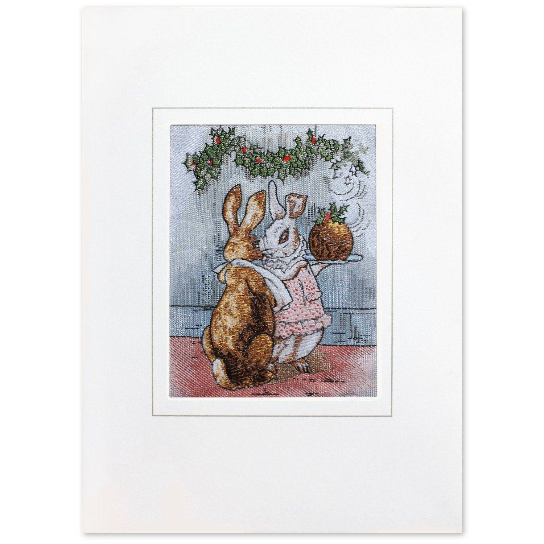 Peter Rabbit Peter Rabbit Rabbit with Christmas Pudding Woven Card