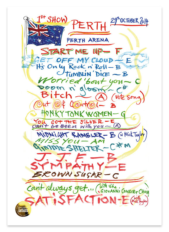 Ronnie Wood: Show 23, Perth Arena, Perth Australia 29 October 2014 Lithograph