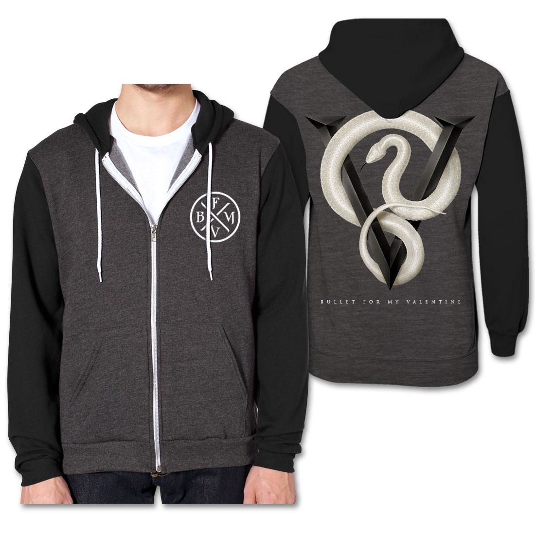 bullet for my valentine snake contrast hoodie