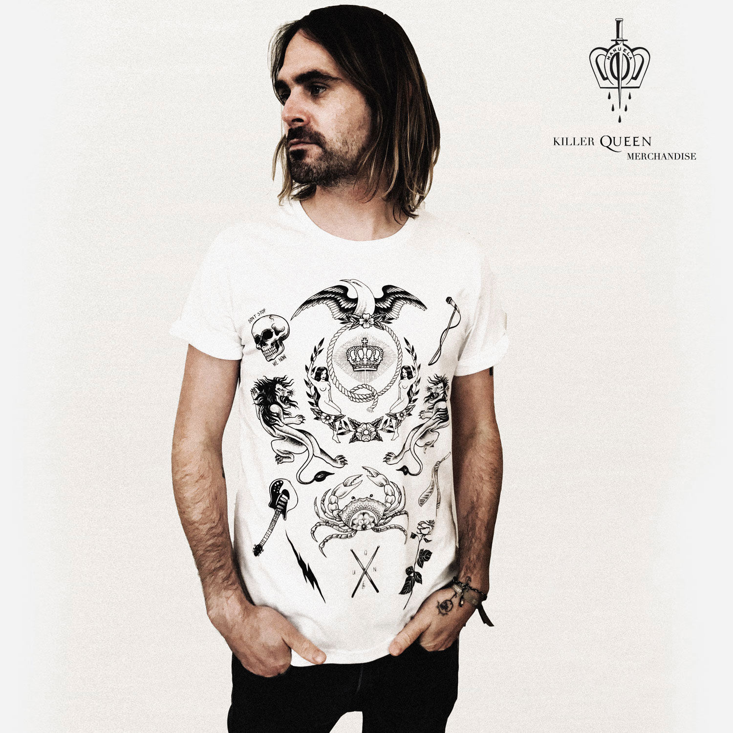 73c84a52292 Queen  Manuela Gray Exclusive Queen Tattoo-Style Crest White T-Shirt