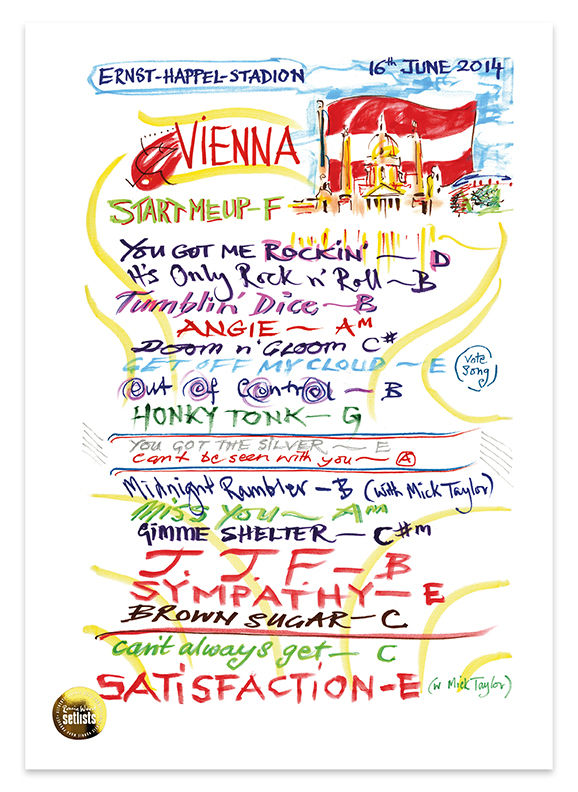 Ronnie Wood: Show 15, Ernst-Happel-Stadion, Vienna Austria 16  June 2014 LIthograph