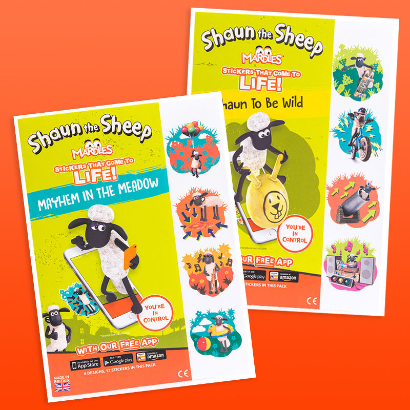 Aard Store Shaun the Sheep Mardles Dual Pack Of Shaun The Sheep Augmented Reality Stickers