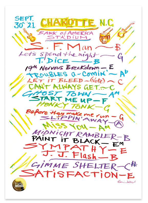 Ronnie Wood: Show 19, Bank Of America Stadium, North Carolina 30 Sept 2021 Lithograph