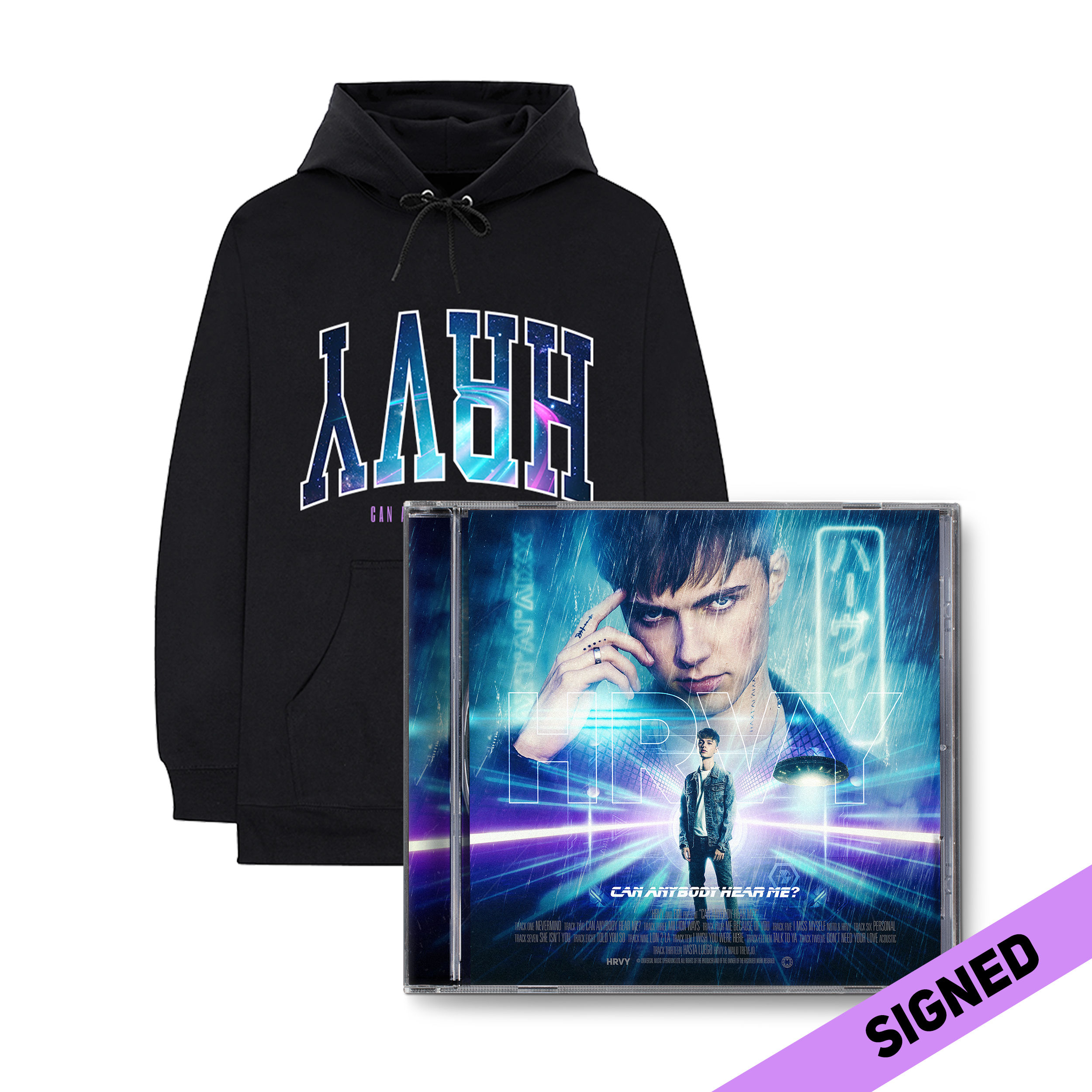 HRVY: Can Anybody Hear Me? Signed Deluxe CD & Hoodie