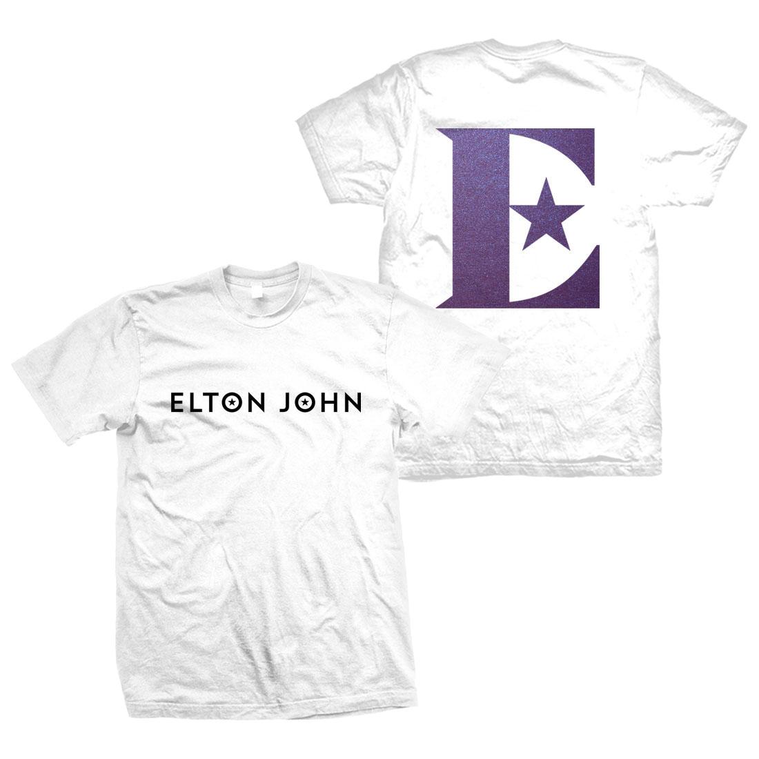 Elton John: Glittered Logo Short Sleeve T-Shirt – White