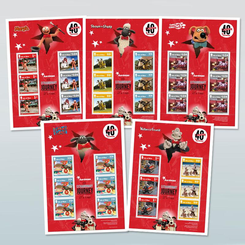 TV Series & Movies Aardman Aardman 40 Years Isle of Man Stamps Sheetlet Set (Mint)