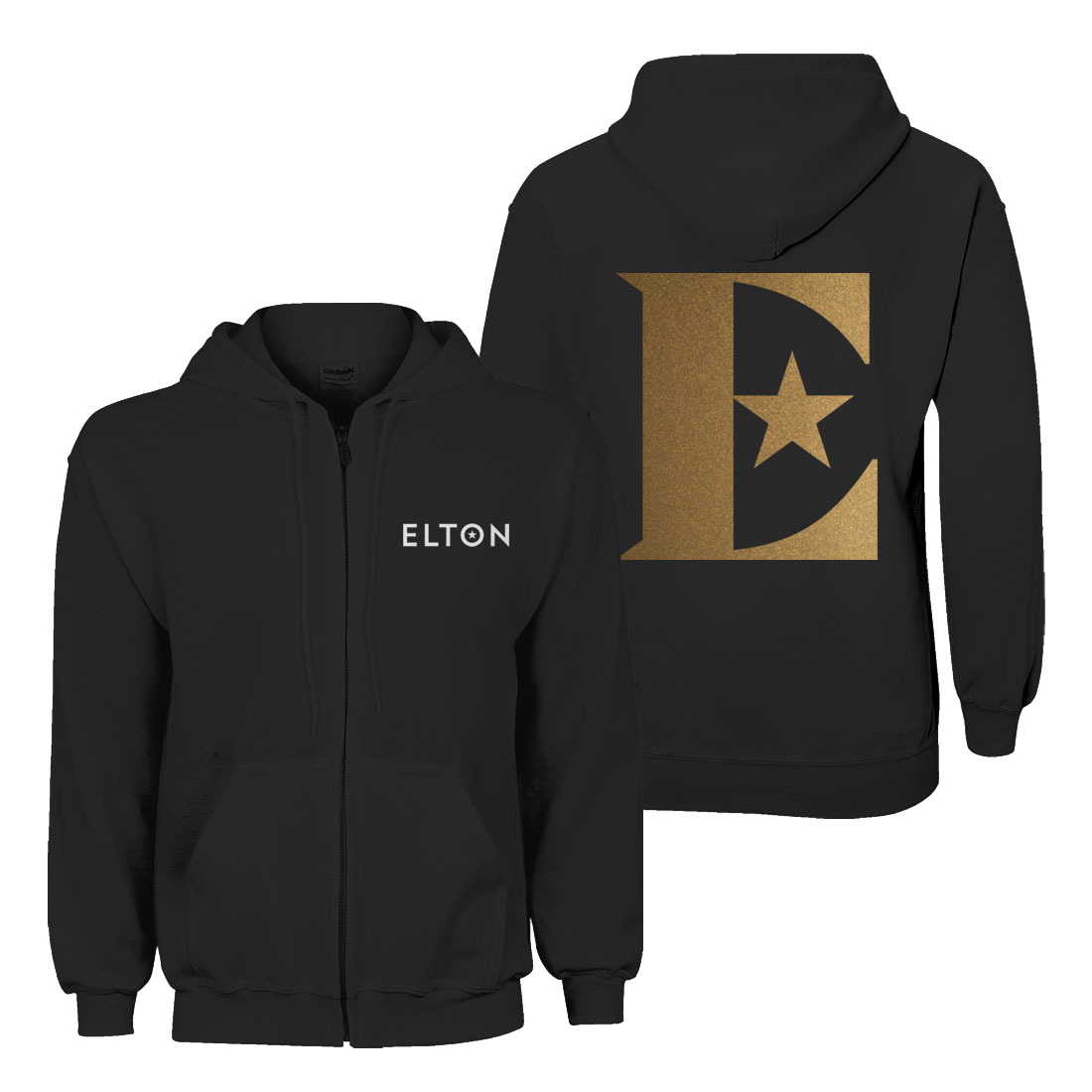 Elton John: Glittered Logo Zip-up Hoodie – Black