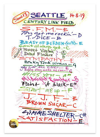 Ronnie Wood: Show 13, Century Link FIeld, Seattle 14 Aug 2019 Lithograph