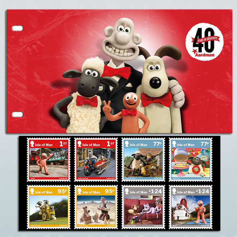 TV Series & Movies Aardman Aardman 40 Years Isle of Man Stamps Presentation Pack