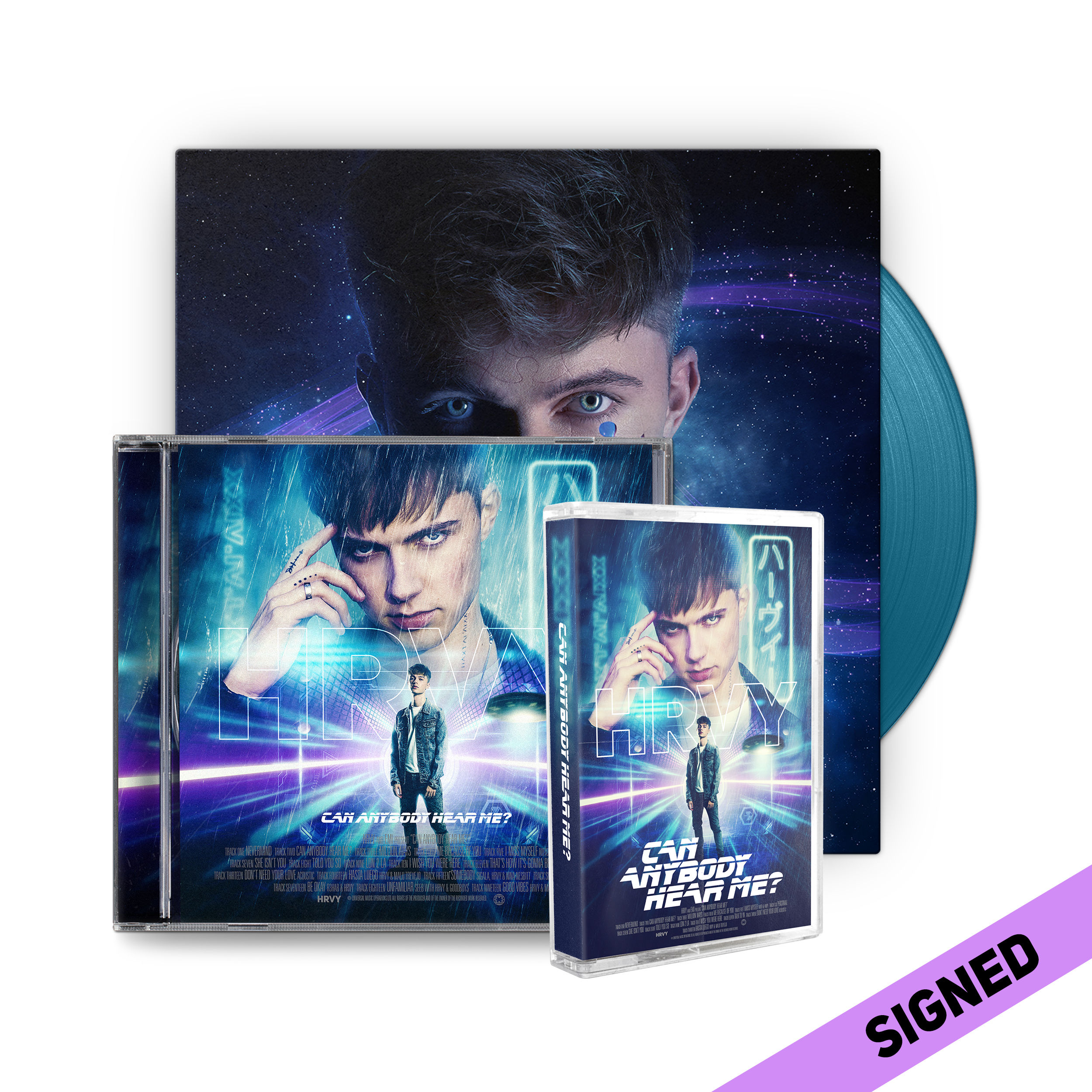 HRVY: Can Anybody Hear Me? Signed Deluxe CD & Cassette & Blue LP